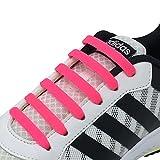 Newkeen No Tie Lacets pour les enfants et adultes, imperméables Silicon Flat élastiques Lacets de sport course de chaussures pour Shoes Sneaker Conseil Bottes et Souliers (Pink)