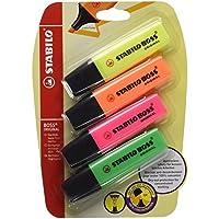 Stabilo B-14888 - Boss - Subrayador (4 unidades, blíster), colores amarillo, naranja, rosa y verde