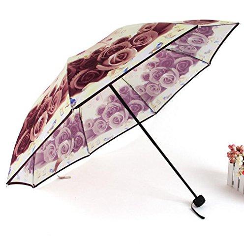 GTWP GT Regenschirm Manual Mode 3 Folding Umbrella kreative, Rosen Blumen Sonnenschirm Stockschirm Robuste winddicht Anti-UV-Sonnenschutz Dach