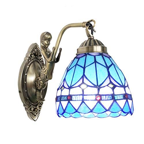 Tv-lampe (Blaue weiße barocke Kirche Bett Wand Lampe TV Hintergrund Schüssel Wandleuchte, rustikale Gang Glasmalerei Kupfer Meerjungfrau Basis Korridor Wandbeleuchtung)