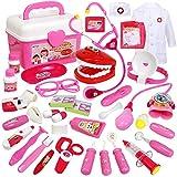 Buyger 35 Pezzi Valigetta Dottore Giocattolo Bambini Kit Gioco Dottore Luci e Suono Stetoscopio per Bambina Oltre 3 Anni (Rosa)