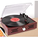 Simple Vinyl Record Player Turntable with Built in Speakers
