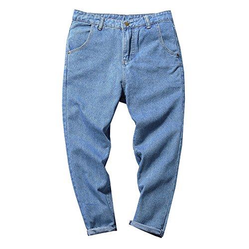 Dabag in autunno jeans ragazzi versione coreana maschili i pantaloni di harlan larghi blu piccoli pantaloni tendenza (l, blu chiaro)