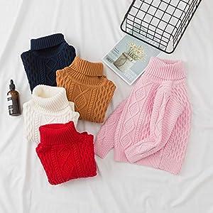 QinMM 1-6 años suéter Hecho Punto Cuello Alto del Invierno del bebé Jersey Sudadera Tops para niñas y niños 8