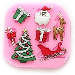 iknowy silicona DIY Navidad trineo azúcar molde de silicona líquido de silicona