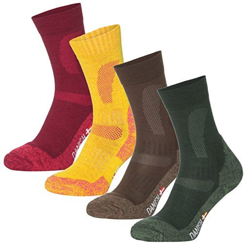 Danish endurance calze de escursionismo di lana merino (rosso - 1 paio, eu 35-38//uk 3-6)