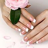 ArtPlus Künstliche Nägel 24pcs Silver Stripe Elegant Touch French Manicure False Nails with Glue Full Cover Long Length Fake Nails Art