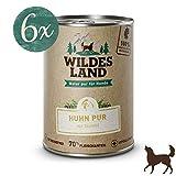 Wildes Land | Nassfutter für Hunde | Huhn PUR | 6 x 400 g | mit Distelöl | Getreidefrei & Hypoallergen | Extra hoher Fleischanteil von 70% Akzeptanz und Verträglichkeit