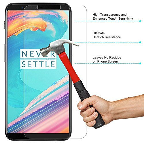 Red Qube Hammer Proof Fiber Screen Protector with Oleophobic Coating for OnePlus 5T