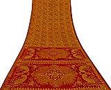 Vintage Indian Jahrgang Reine Seide Gelb Saree mit