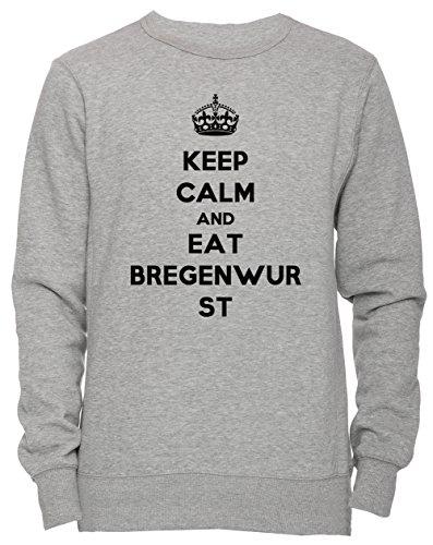 Keep Calm And Eat Bregenwurst Unisex Herren Damen Jumper Sweatshirt Pullover Grau Größe XL Men's...