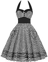 GRACE KARIN® 50er Vintage Retro Neckholder Polka Dot Cocktailkleid Faltenrock