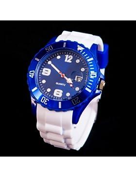 CRAZY WATCH Silikon Uhr Weiss / Blau Trend Watch Big Face Style Sport Herrenuhr Damenuhr HOT