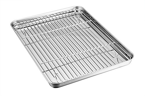 Baking Tray with Rack Set, TeamFar Stainless Steel Baking Sheet Pan with Cooling Rack, Healthy & Non Toxic, Mirror Polish & Easy Clean - Dishwasher Safe -