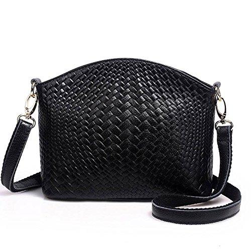 Lederhandtaschen Einfache Gestrickte Struktur Stricken Erste Schicht aus Leder Schulter Messenger Weibliche Handtasche , schwarz (Leder Gestrickte)