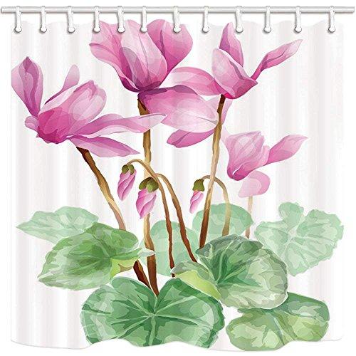 cdhbh Watercolor Decor Vorhang für Dusche asiatischen Stil Wasser Lily und Lotus Leaf Domestic Polyester- oder Hotel Badezimmer Schimmelresistent-Wasserdicht Duschvorhang Set Haken 180x180cm