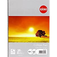 Rhino A5 Spiral Bound College Pad | Ruled College Notebook with Margin | 140 Pages