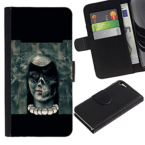 Ihec-Tech / Flip Wallet Diary PU Leather Case Cover for Apple Iphone 5 / 5S - Evil Goth Skull Girl