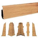 HOLZBRINK 200cm Sockelleiste Fussleiste 70mm x 20,7mm aus Kunststoff - VEO 021 RUSTIKAL EICHE