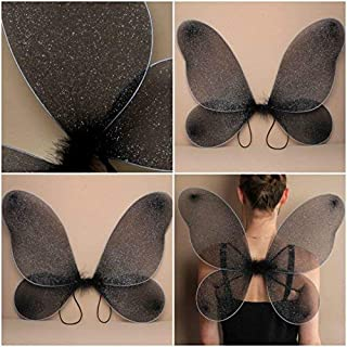 ALANNAHS ACCESSORIES Large Adult Black Net Fairy Wings With Silver Glitter Fancy Dress Up