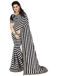 e54d8cefc00 Regent-e Fashion Georgette Saree With Blouse Piece (zebra Black Free Size)