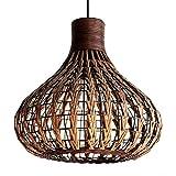 lgoodl natur Bambus Kronleuchter DIY Rattan Lampenschirme Weave Hängeleuchte d13.8inch