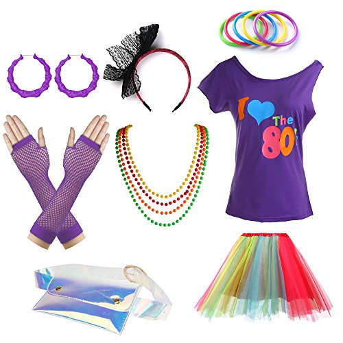 * NEW * Love The 80's T-Shirt and Multi-Coloured Tutu Fancy Dress Set for Women