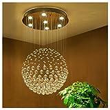 Hyvaluable Kristallleuchter Moderne LED Spirale Kugel Regen Tropfen K9 Deckenleuchte mit Fernbedienung für Wohnzimmer Hotel Flur Foyer Entry