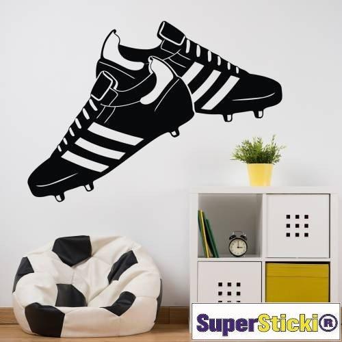 Fußballschuhe 60x60 Wandtattoo Aufkleber Decal von SUPERSTICKI® aus Hochleistungsfolie für alle glatten Flächen UV und Waschanlagenfest Profi Qualität -