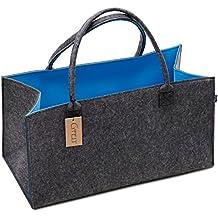 Premium Filztasche von G'FELT – hochwertige und geräumige Einkaufstasche, Aufbewahrung, stabile Kaminholztasche, schicke Freizeit-Tasche oder Badetasche – pflegeleicht, doppelwandig, robust, zweifarbig