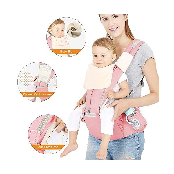 Azeekoom Baby Carrier, Ergonomic Hip Seat, Baby Carrier Sling with Fixing Strap, Bibs, Shoulder Strap, Head Hood for Newborn to Toddler from 0-36 Month (Pink) Azeekoom 【More Ergonomic】 - Baby carrier for newborn has an enlarged arc stool to better support the baby's thighs, the M design that allows the knees to be higher than the buttocks when your baby sits, is more ergonomic.The silicone granules on the stool provide a high-quality anti-slip effect that prevents the baby from slipping off the stool. 【Various Methods of Carrying】- There are 5 combinations of ergonomic baby carrier and a variety of ways to wear them.Hip Seat/Fixing Strap + Hip Seat/Shoulder Strap + Hip Seat/Strap + Hip Seat/Strap, 5 combinations to meet your needs.Fixing Strap frees your hands and prevent your baby from falling over the stool.The shoulder straps reduce the burden on your waist and make you more comfortable. 【More Comfortable】 - The baby carrier is made of high quality cotton fabric with 3D breathable mesh for comfort and coolness. The detachable sunshade provides warmth in winter and fresh in summer. The detachable cotton slobber allows you to Easy to change. At the same time, the zip closure is designed for easy removal and cleaning. 2