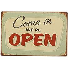 V-SOL Pintura de Hierro Vintage Retro Decoración Pared de Bar Cafetería Letras Closed Open (5035)