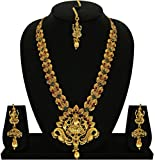 #4: Matushri Art Indian Traditional Temple Jewelry of God Laxmi with Elephant and Dancing Peacock Necklace Set for Women and Girls