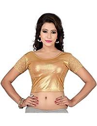 Fressia Fabrics Women'S Cotton Saree Blouse (Golden-Half_Gold_Free Size)