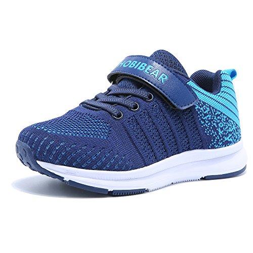 Sneaker Kinder Sportschuhe Jungen Mädchen Atmungsaktive Klettverschluss Outdoor Laufen Schuhe Blau 36=22.5cm interne länge (Sneakers Schuhe Für Jungen)
