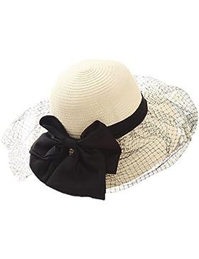 Señoras De Playa Plegable Flojo Verano UPF50 + Sun De La Paja Del Sombrero Del Cubo Del Bowknot Casquillo Ancho...