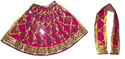 FABLOOK Magenta Pink Embroided Sherawali Vaishno Devi Durga Mata Lehenga Chunni Dress/ Vastra/ Poshak