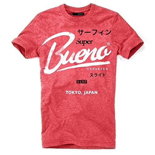 DEPARTED Herren T-Shirt mit Print/Motiv 4133-060 - New fit Größe L, San Francisco red Melange -