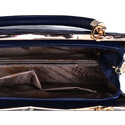 BYD - Pell Donna Mini forma di diamante Tote Bag Handbag Borsa decorazione con fiocchi Vinorosso