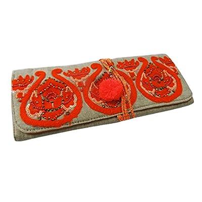 indien sac de rouleau de bijoux faits main décorative tissu toile de coton perlé étui de rangement sac pochette orange, cadeau de Noël pour les femmes
