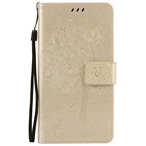 Nancen Compatible with Handyhülle Motorola Moto G4 / G4 Plus Flip Schutzhülle Zubehör Lederhülle mit Silikon Back Cover PU Leder Handytasche Etui Schale