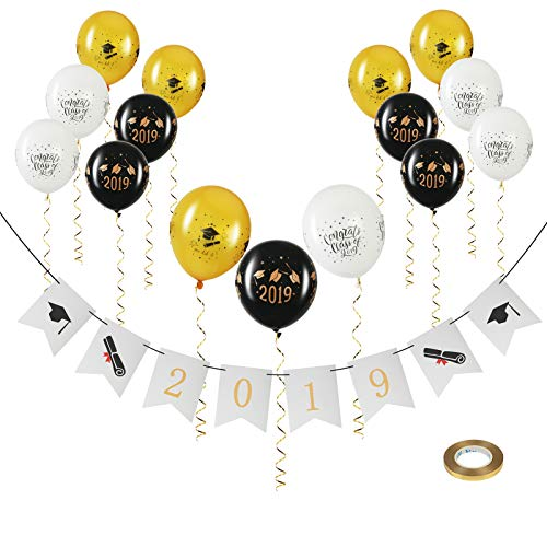 KATOOM 2019 Laurea Banner Laureato Celebrazione Bunting Garland Grad Pennant Bandiere con 15 Pz Palloncini in Lattice per la Laurea Party Decor Photo Puntelli
