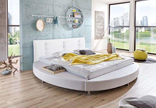 SAM® Design Rundbett Bebop, Bett in weiß, Kopfteil abgesteppt, mit Chromfüßen, auch als Wasserbett verwendbar, 180 x 200 cm thumbnail