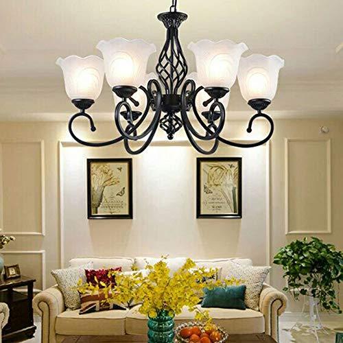 HYYK Moderne Schmiedeeisen Kronleuchter, E27 Glas Pendelleuchten Verstellbare Deckenleuchte Schlafzimmer Wohnzimmer Esszimmer Dekoration Lampe 220V,6head