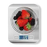 Báscula Digital de Cocina Houzetek Balanza para Comida de Alta Precisión con LCD retroiluminación,Acero Inoxidable,Peso de Alimentos Multifuncional,Color Plata 1g(0,1 oz)-5kg
