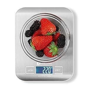 Houzetek Balance de Cuisine Electronique en Acier INOX LCD, Balance de Cuisine avec Bouton d'unité Automatique, Balance de Précision 0.01oz / 1g, 5kg/11lb Maximum,Fonction Tare, Auto-arrêt