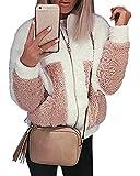 Shallgood Damen Mantel Plüschjacke Winter Winterjacke Steppjacke Warmen Outwear Reißverschluss Lange Ärmel Einfarbig Sexy Parka Weiß - Pink DE 48