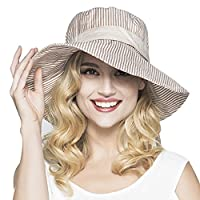 Women Ladies Fashion Stripe Bucket Hats Anti-UV Sun Protection Foldable Floppy Cotton Sun Hats Fisherman Hat Shopping Fishing Traveling Camping Cycling Beach Flat Bucket Hat Headwear Topee Coffee