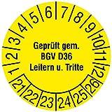 Labelident Prüfplaketten - Geprüft gem. BGV D36, Leitern und Tritte, Mehrjahresprüfplakette, Zeitraum 2021-2026, Ø 15 mm, 240 Stück, Dokumentenfolie gelb, Aufdruck schwarz