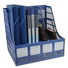 Liying® High Quality Sturdy Four Sections Magazine Holder File Rack Storage dispay for Lever Arch Polypropylene Desktop Shelf File Dividers Cabinet Document Tray Holder Organiser Box